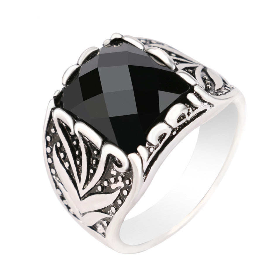 Fashion Vintage Black Rings For Men Accessories Size 11 Rectangle AAA Resin Silver Plated Jewelry