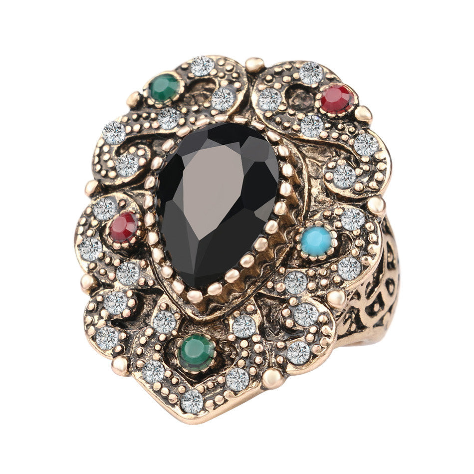 Fashion Vintage Engagement Rings Black Water Drops Resin Mosaic AAA Crystal plated Ancient Gold Jewelry