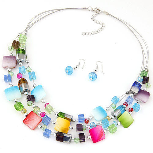 Fashion Vintage Jewelry Sets Bohemian Crystal Multi layer Beads Colorful Necklace Earring Set Wedding Accessories bijoux