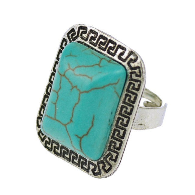 Fashion Vintage Retro Tibet Silver Plated Color Ring Turquoise Finger Ring for Women Fine Jewelry Gift