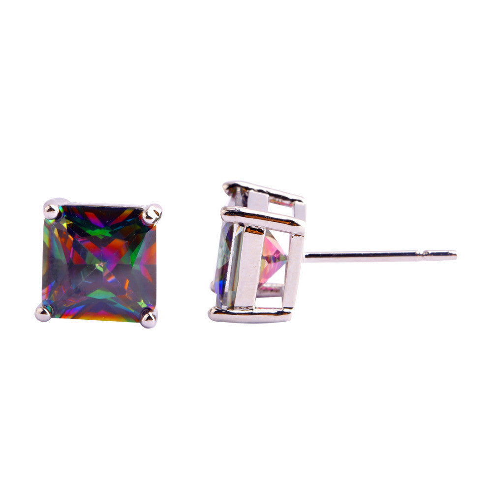 Fashion Women Jewelry Decent Princess Cut Mysterious Rainbow Topaz Silver Stud Earrings