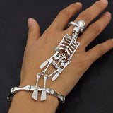 Fashion Women Jewelry Elastic Bracelet Zinc Alloy Silver Plated Skeleton Skull Body Halloween Bracelet