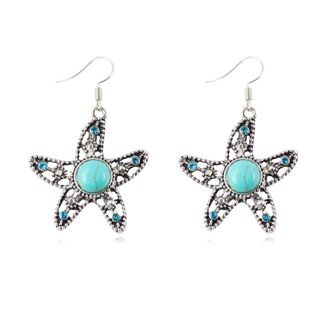Fashion Women's Long Drop Earrings Silver Brilliant Turquoise Dangle earrings For women