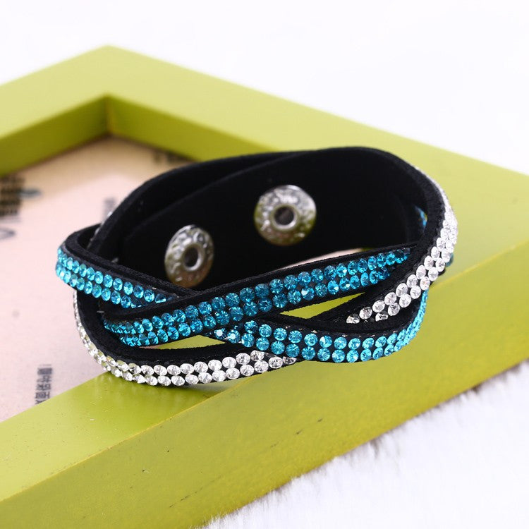 Fashion Wrap Bracelets Slake Leather Bracelets With Crystals Couple Jewelry