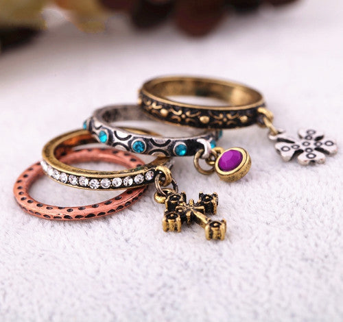 Fashion accessories carved cross vintage set of ring women's ring