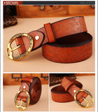 Fashion brand 100% genuine leather women belt metal pin buckle vintage belts for women