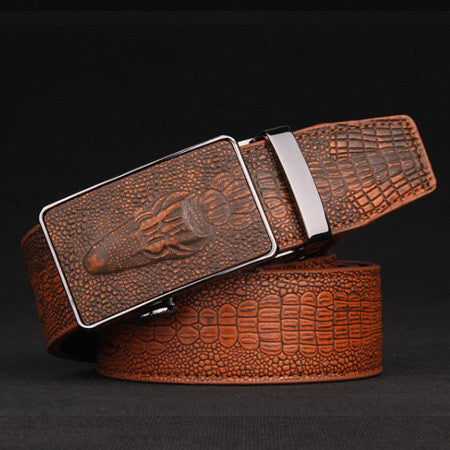 Fashion croco automatic buckle genuine leather belts for men vintage mens belts luxury brand belt men