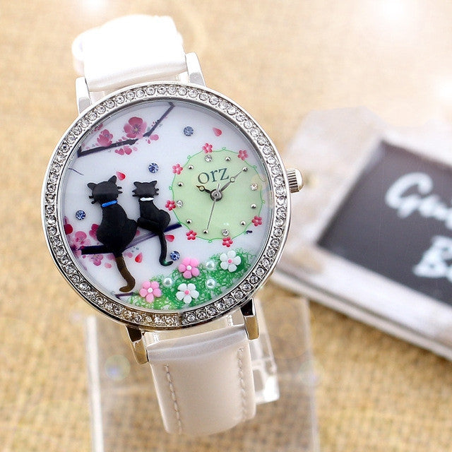 Fashion diamond watch creative DIY ladies watch cartoon cat lovers premium brand female table orz