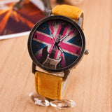 Fashion items Casual watches Men women quartz watches flag partten Electronic Vintage Style wristwatch clock hours