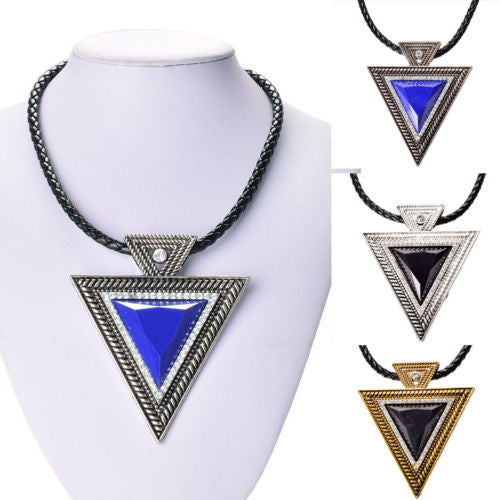 Fashion lackingone jewelry christmas gift Vintage Triangle Statement Necklace Rhinestone Necklaces & pendants Leather chain