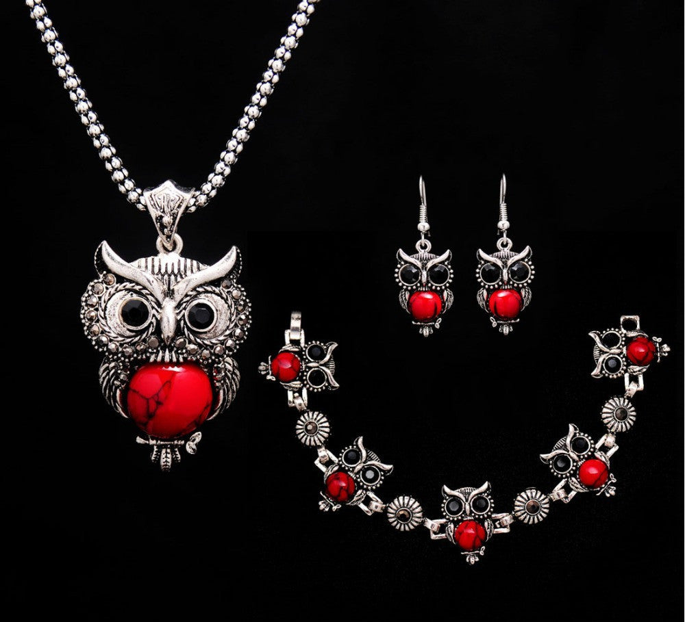 Fashion owl Women tibetan silver Turquoise Crystal Jewelry Sets Chain party wedding women gift Jewelry Sets