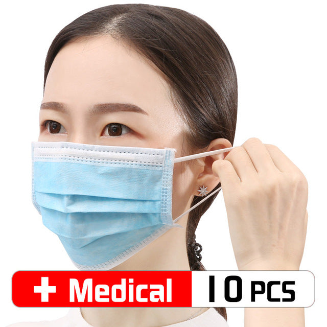 10 Pcs /bag Disposable Face Medical Masks Surgical 3-Ply Nonwoven Elastic Mouth Soft CE Flu Hygiene Face