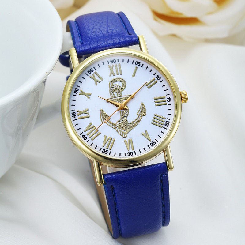 Fashion Roman Numerals Boat Anchor Faux PU Leather Luxury Brand Analog Quartz Watch Women Watches