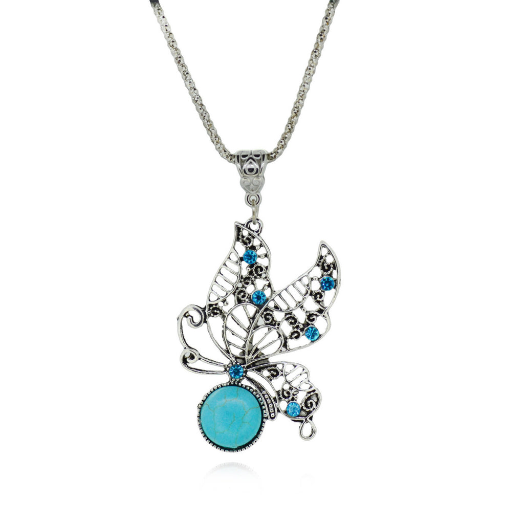 Female Delicate Butterfly Cute Pendant Necklace Silver Metal Turquoise Necklaces & Pendants Jewelry For Friendship