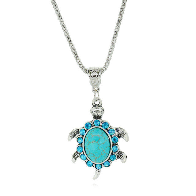 Female Tortoise Pendant Drop Necklace Silver Plated Green Turquoise Exquisite Costume Accessory Women statement necklace Jewelry