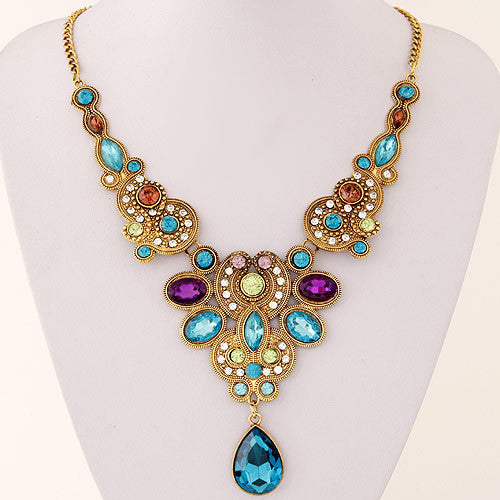 Fine Jewelry Long Blue Maxi Crystal Necklace for Women Vintage Gold Statement Necklaces & Pendants Indian Choker Colar