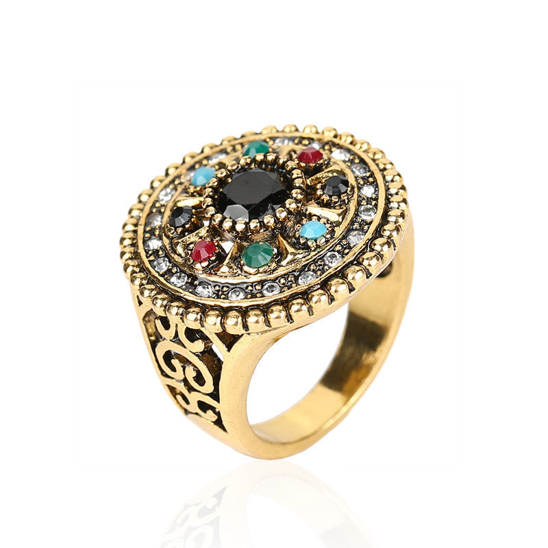 Fine Vintage Jewelry Round Trendy Flower Multicolor Resin Crystal Ancient Gold Plated Ring For Women