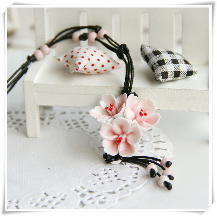Flower Ceramic Necklaces Handmade Pendants Long New Design Fashion Vintage Jewelry Accessories Charm Gifts For Women