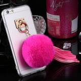 For iphone 6 6s / Plus Case Fundas Rabbit Fur Ball Tassels Metal Ring Cases Soft TPU + Hard PC Girly Coque Cover For Iphone6 I6