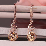 Forniciform 14k Gold Plated Austrian Crystal Drop Earrings For Women Gift /Party Fashion Jewelry