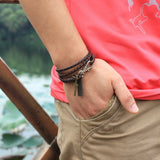 New Fashion Bandage Buckle key Pattern Leather Bracelet popular brown Cross Bracelet for man