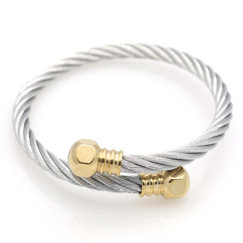 Full 18k Gold Plated Wire Men Charm Screw Nut Bracelets Bangles High Quality Titanium Steel New Women Fashion Jewelry