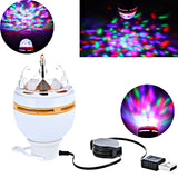 Full Color 3W LED Portable Disco DJ Party Crystal Stage Light Auto Rotating led Bulb Lamp with USB Interface