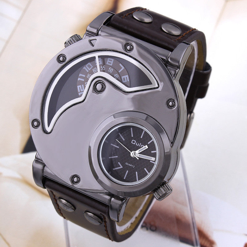 GMT Sports Watch for Men Navigator shape Quartz watches Luxury brand Casual watch Leather wristwatch OULM watch