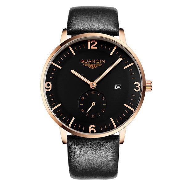 GUANQIN watches fashion waterproof mens watch leather strap male fashion the trend of commercial table sports quartz watch