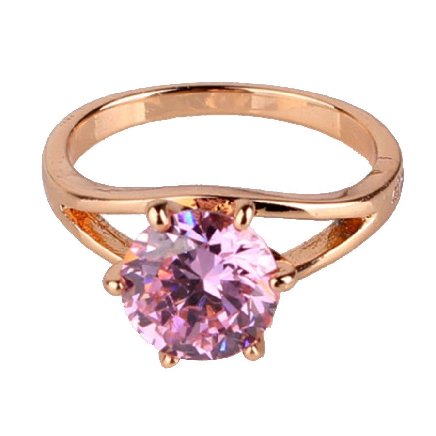 Fashion Brand Wedding Ring 18k Gold Plated Finger Ring Simple Big Pink Crystal Cubic Zirconia Band Jewelry for Women