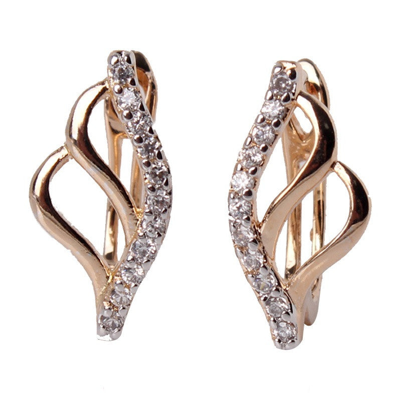 Fashion Hoop Earing for Women Jewelry 18K Gold Platinum Plated Earrings White Stones Crystal Cubic Zirconia Earrings