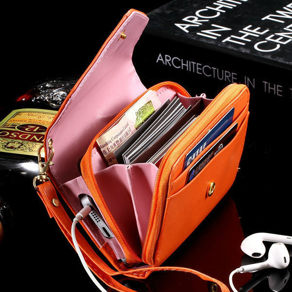 General Use! Pouch Wallet PU Leather Case for iphone 6s 5s, 6 4.7inch, 5C, for Samsung Galaxy S3 S4 S5 S6 Cover Crown Card Slot