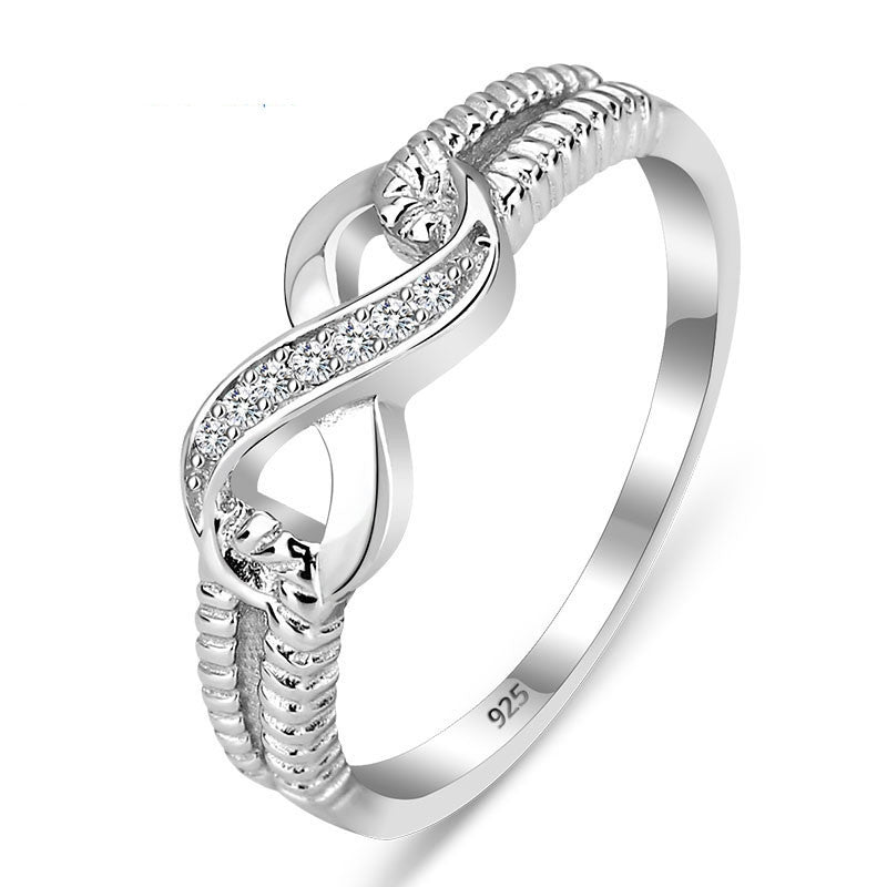 Genuine 925 Sterling Silver Jewelry Designer Brand Rings For Women Wedding Lady Infinity Ring