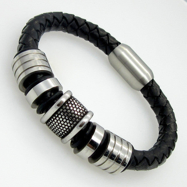 Genuine Leather Bracelet Men Stainless Steel Leather Braid Bracelet With Magnetic Buckle Claps pulseiras masculina