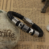 Genuine leather bracelet Great Wall stainless steel cool men leather woven bracelet with magnetic buckle