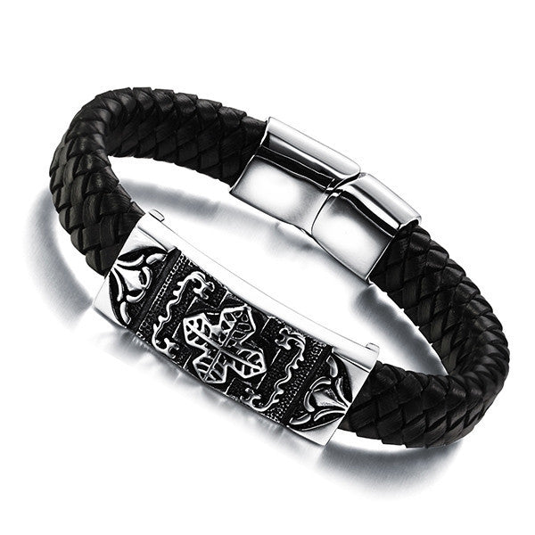 Genuine Leather Stainless steel Men Bracelet Wrap Wristband For Men Classic Bracelet Men Bangle Jewelry