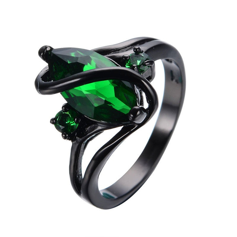 Elegant Black Gold Filled Emerald CZ Ring Vintage Wedding Rings For Women Christmas Eve Gift Fashion Jewelry