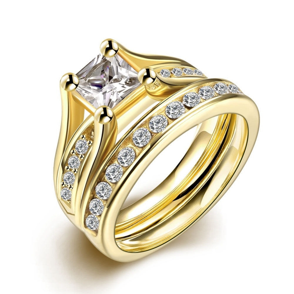 Geometric Design Male Female Yellow Gold Plated Wedding Ring Sets