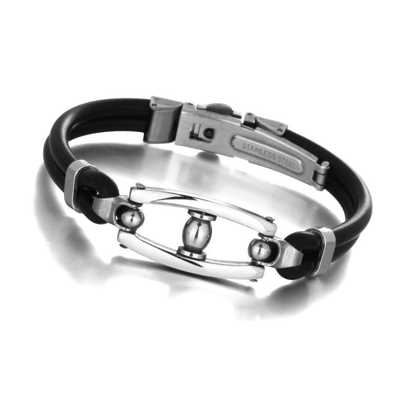 Gifts Designer Black PU Leather Wristband Men's Jewelry 316L Stainless Steel Men's Bracelet