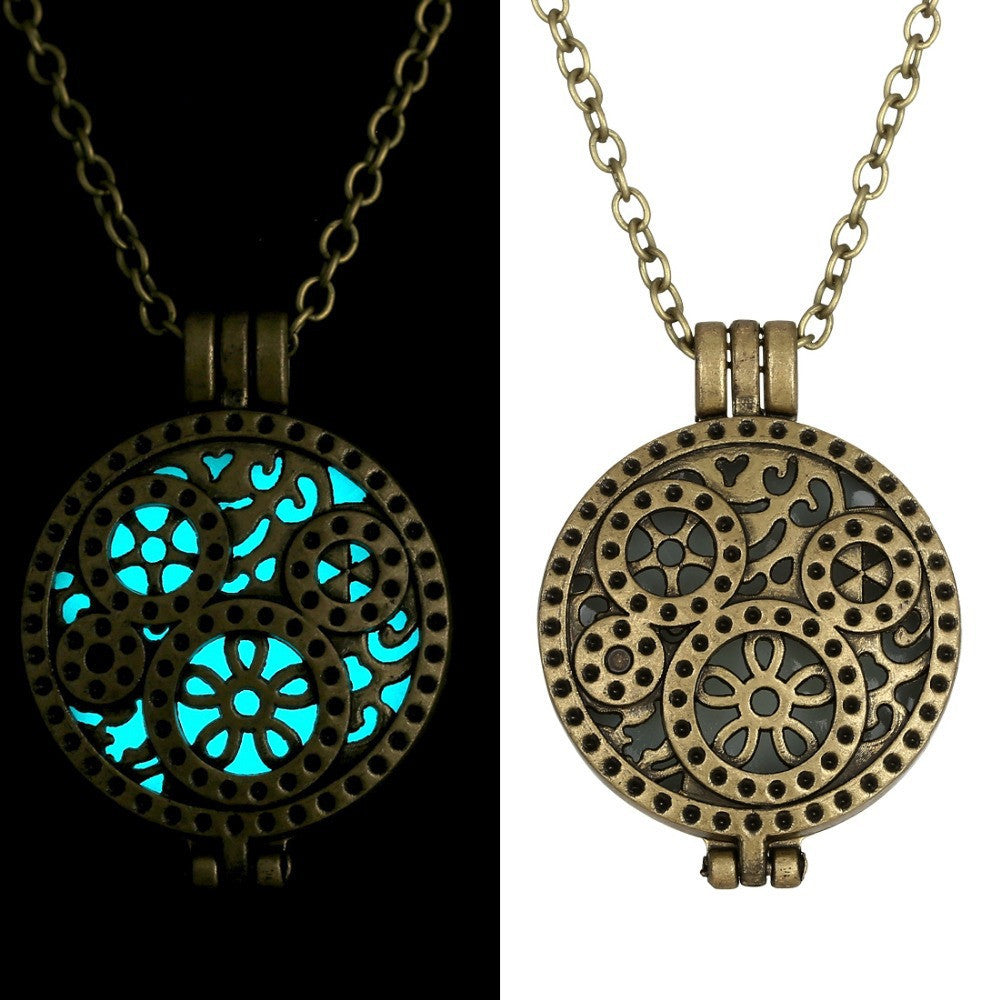 Glow In Dark Vintage Necklace Women Glowing Jewelry necklaces & pendants Locket Hollow Pendant Gifts