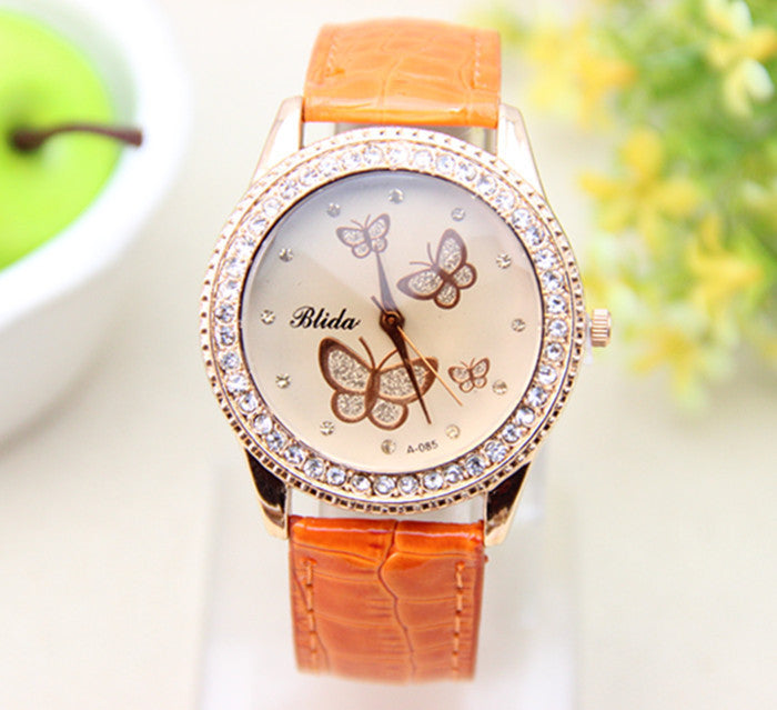 Fashion PU leather Watch Butterfly Women Rhinestone Watch Women Dress Watch