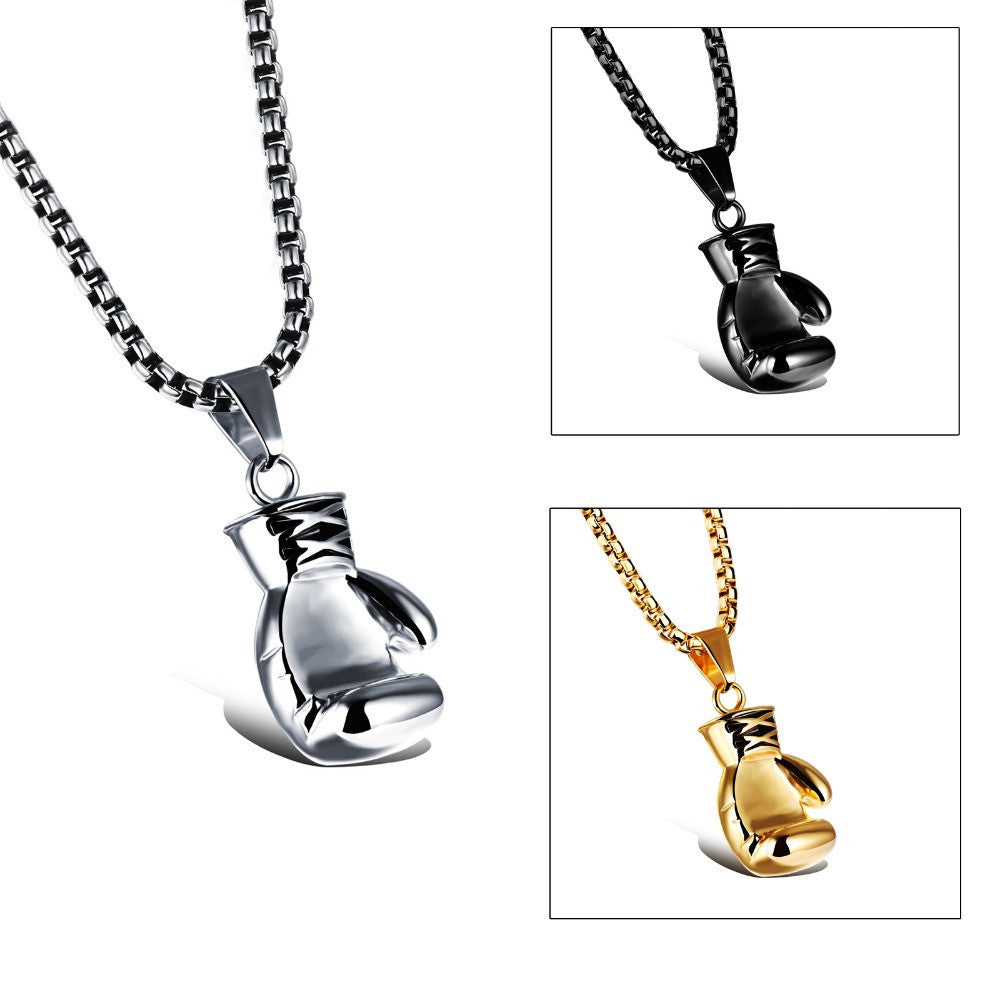 Gold/Black/Silver Plated Fashion Mini Boxing Glove Necklace Boxing Jewelry Stainless Steel Cool Pendant For Men Boys Gift