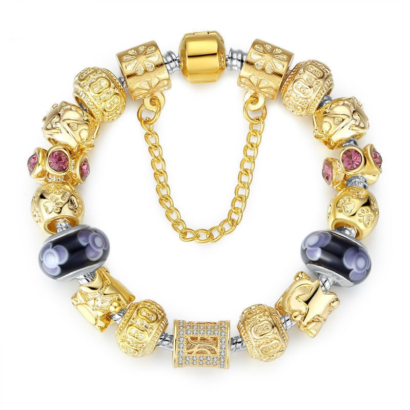 Gold Plated Charm Bracelet & Bangle for Women With High Quality Murano Glass Beads DIY Birthday Gift