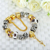 Gold Plated Charm Bracelet Pulseras for Women With High Quality Murano Glass Beads DIY Christmas Gift