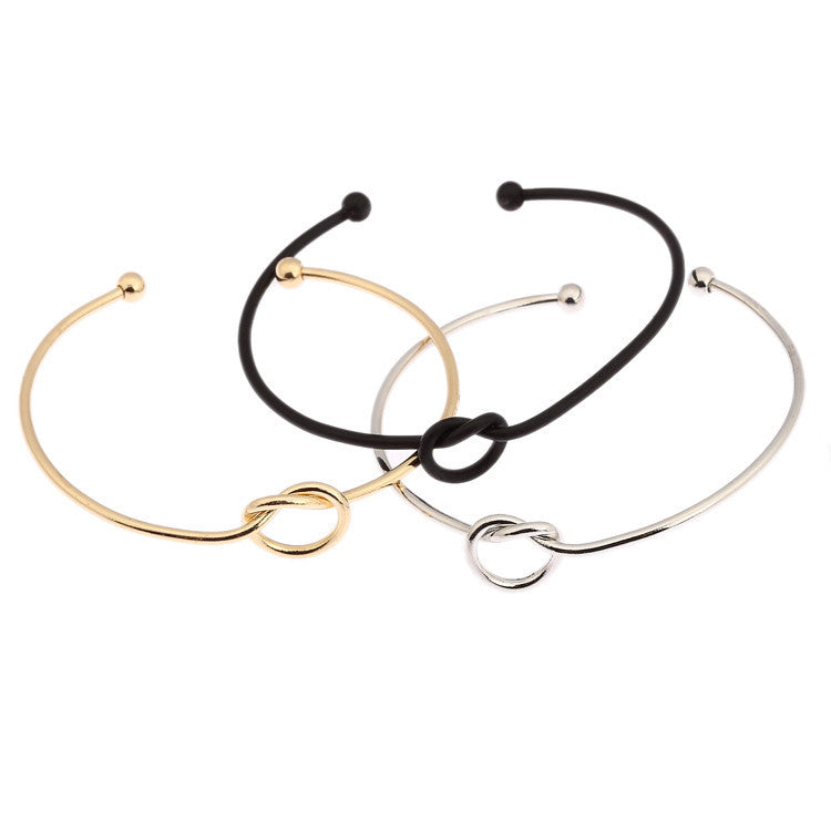 Gold Love Knot Bangle Bracelet Simple Knot Bangle Cuffs for Women Stretch Bracelet Bangles Gift