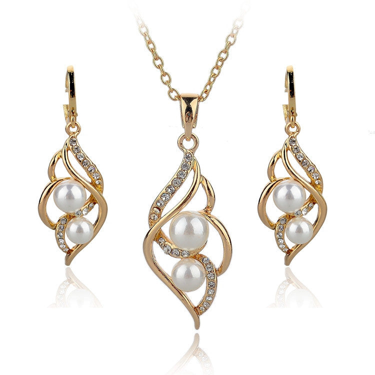 Gold Plated Elegant Fashion Inlaid Crystal Jewelry Sets Imitation Pearl Earrings Necklaces Set For Women Wedding