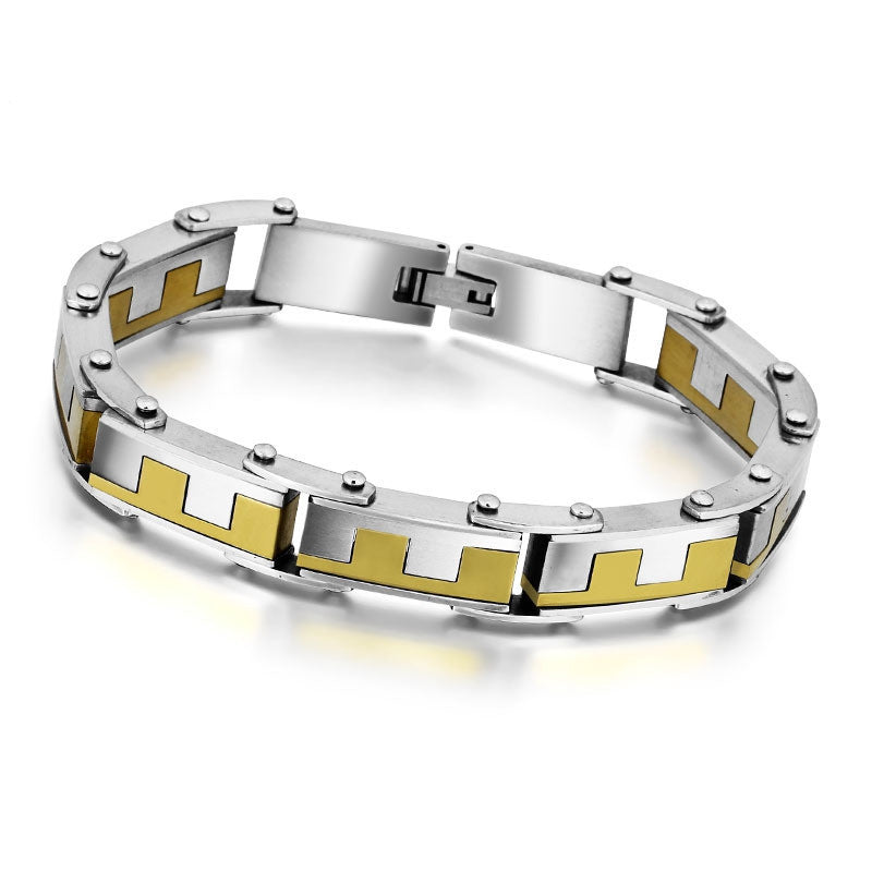 Gold Plated Stainless Steel Bracelets & Bangles Male Jewelry Fashion Punk 224m Length Men Bracelets