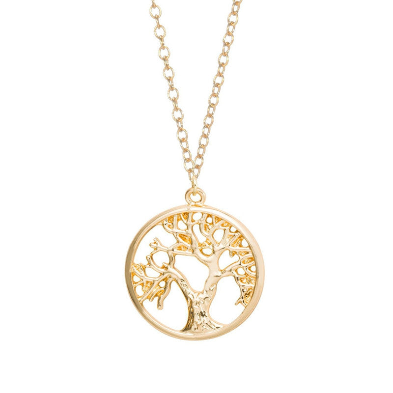 Gold and Silver Plated Tree of Life Pendant Necklace Cute Tiny Tree in Circle Necklaces