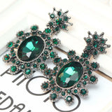 Gorgeous long Women fashion earrings Green White Glass New arrival brand sweet metal stud crystal earrings for women girls