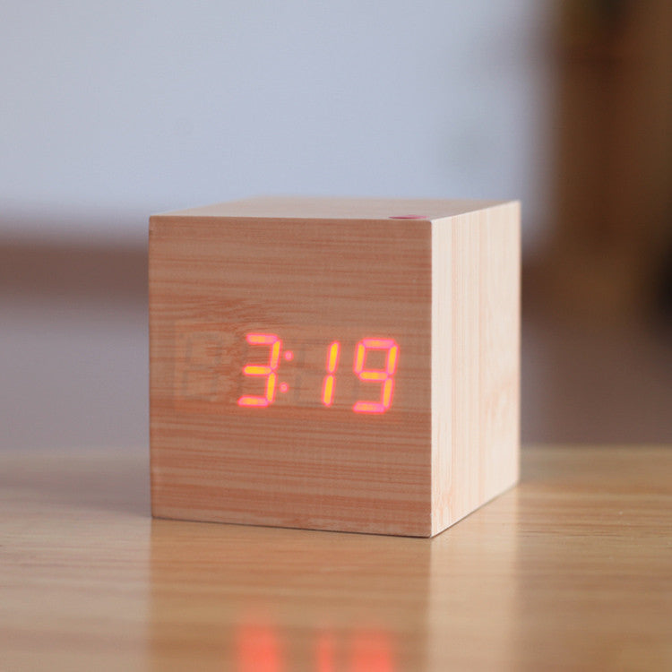 Exquisite Square Digital Alarm Clock 4 Color LED Display Thermometer Sound control Wood led clock Home decoration Novel gift